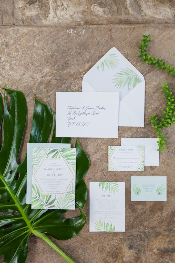 Flamboyant Invites Coco Palm Invitation Suite