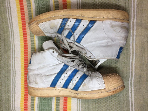 1980s Adidas Promodel white blue 3 stripes hi top sneakers size 7