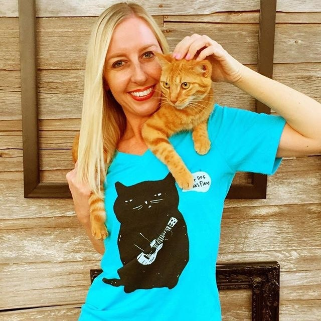 Our Instagram friend @PjFore with Frankie Rose in our Ukulele Cat relaxed fit v-neck cat tee.