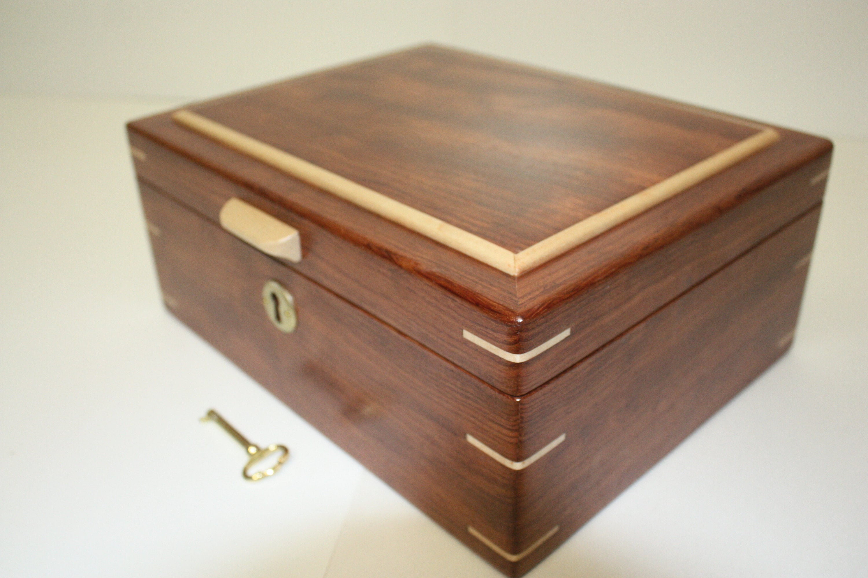 Handmade Locking Bubinga Wood Box For Sale