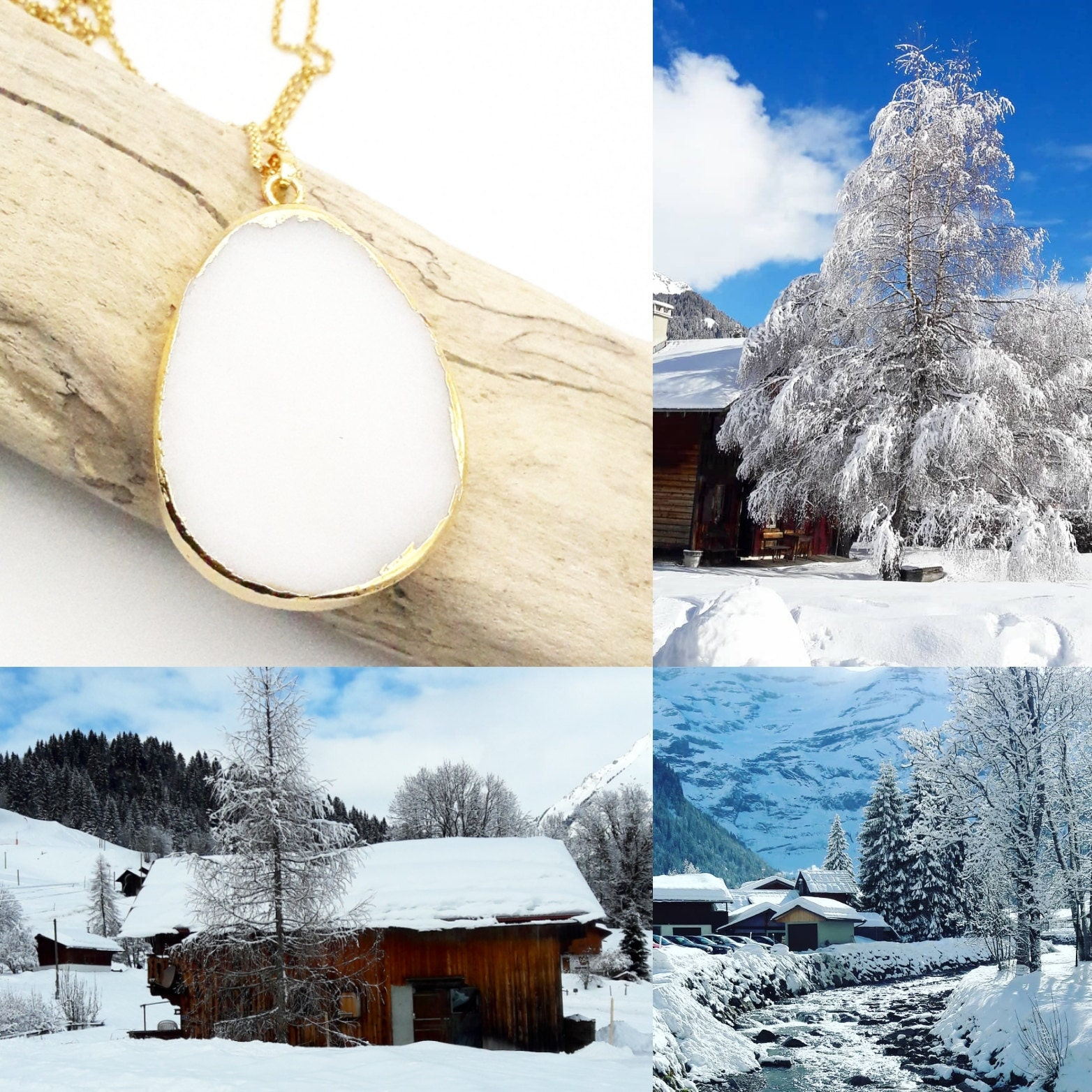 White Jade long Drop Necklace Gold Color Stainless Steel Chain