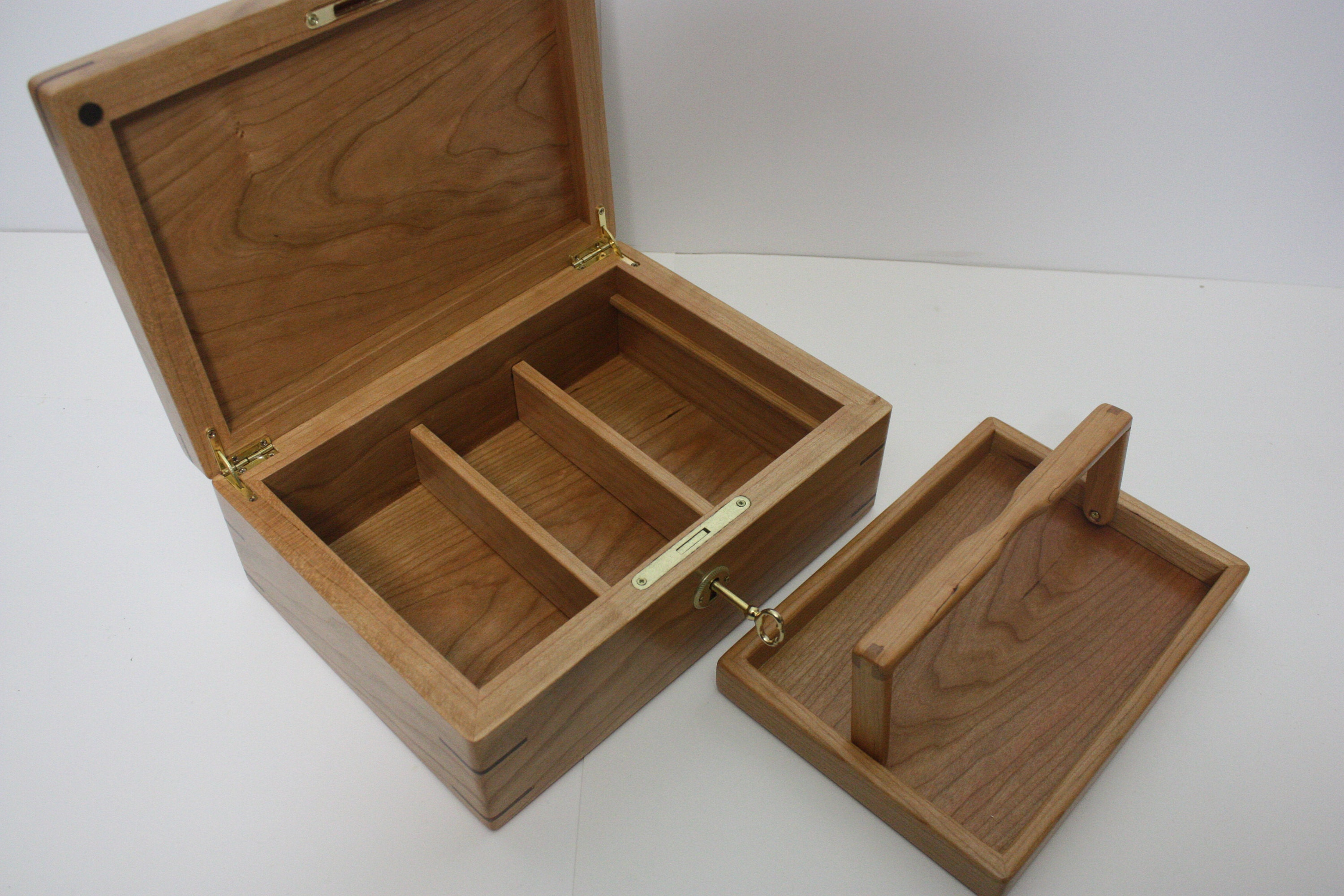 Cherry Wood Box with Lift Out Tray and Adjustable Dividers