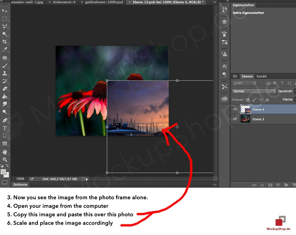 """1. Open the PSD file with Adobe Photoshop 2. Double-Click on the Square before """"Your Artwort here"""""""