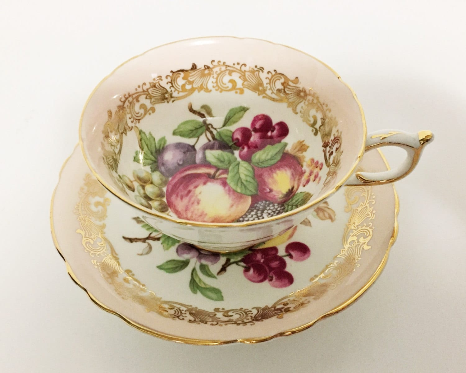 Beautiful Teacup and Saucer with Harvest Fruit from Paragon China