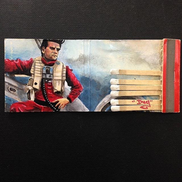 The resistances best pilot. Acrylic on vintage matchbook