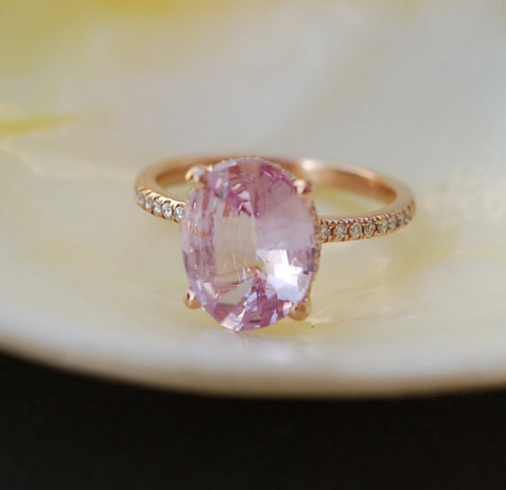 engagement diamond fine sapphire ring cut trillion pink rings