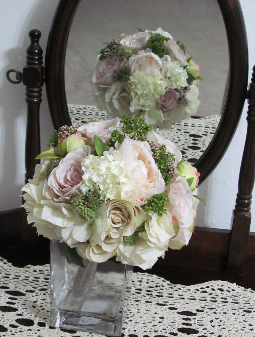 Silk Bridal Bouquets Pink and Cream with Green Accents