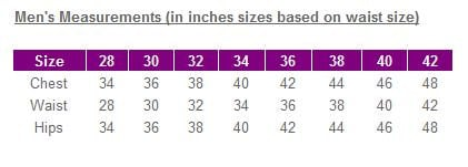 Mens measurements chart waist - UK Sizes