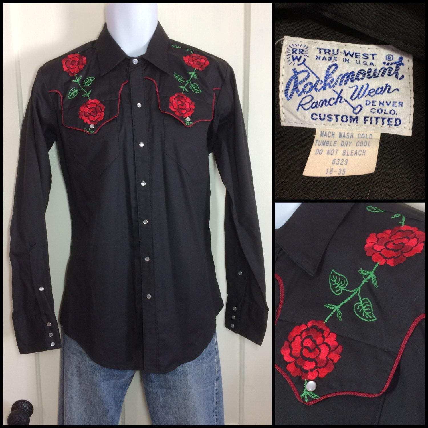 Rose embroidered black Rockmount