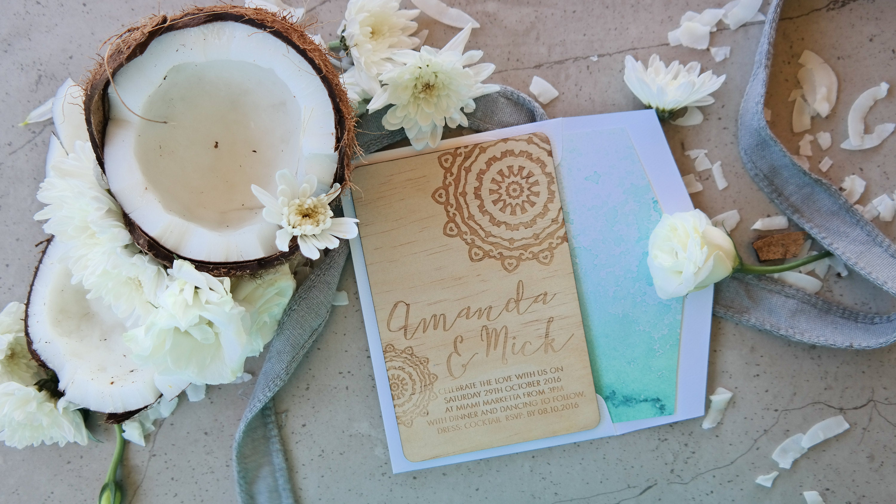 Mandala wood wedding invitation