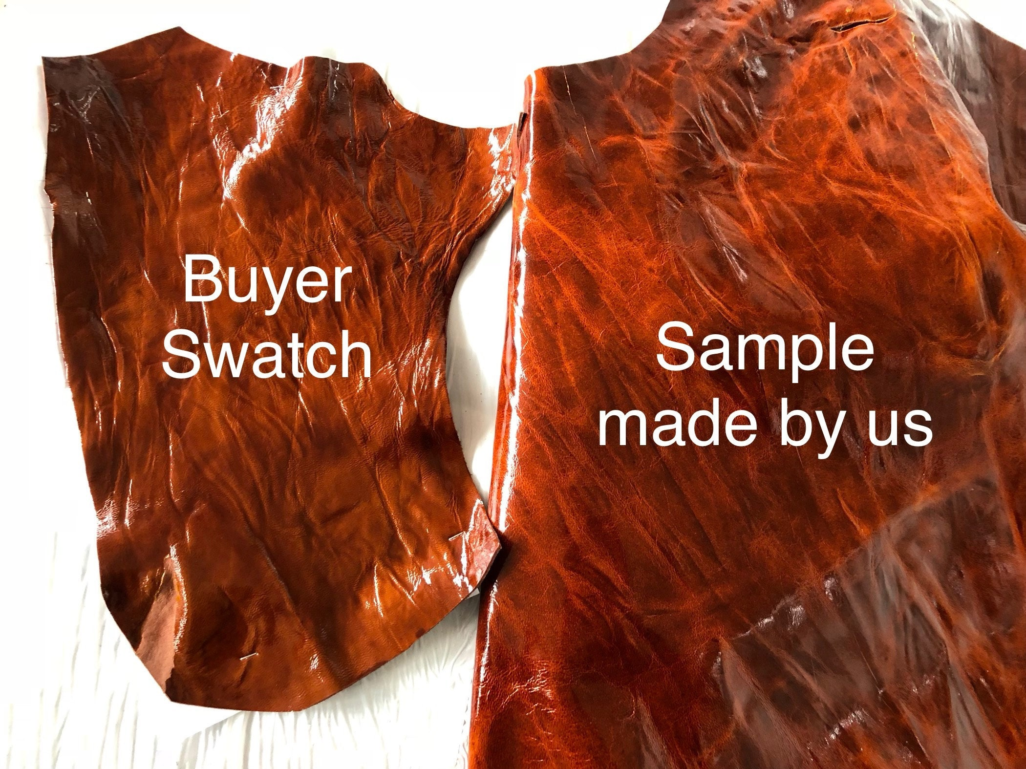 Send us your swatch or color reference and we will custom dye your leather hides