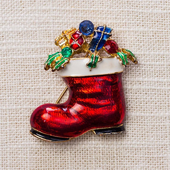 Santas boot brooch filled with rhinestone presents