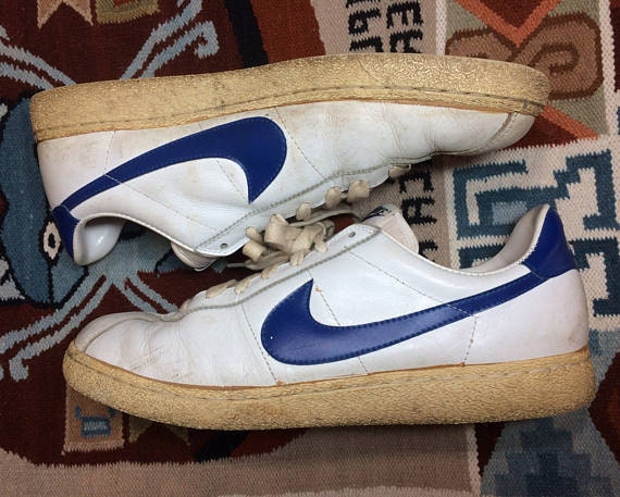 1982 leather Nike Bruin vintage kicks white blue swoosh size 13