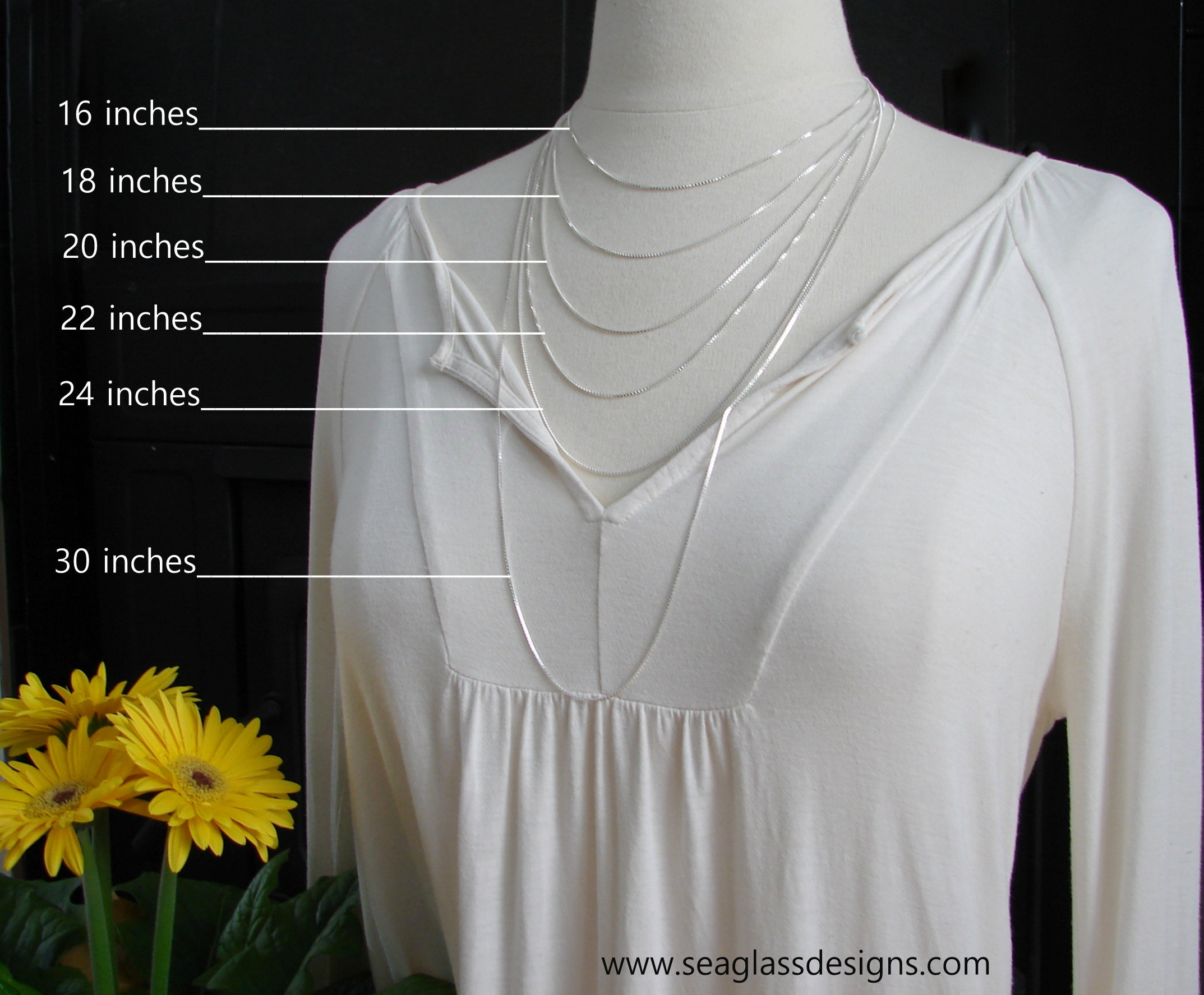 Necklace length guide by Sea Glass Designs