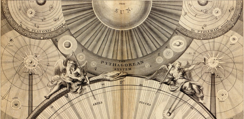 Astronomy theories represented in Wrights Celestial Map print from 1742