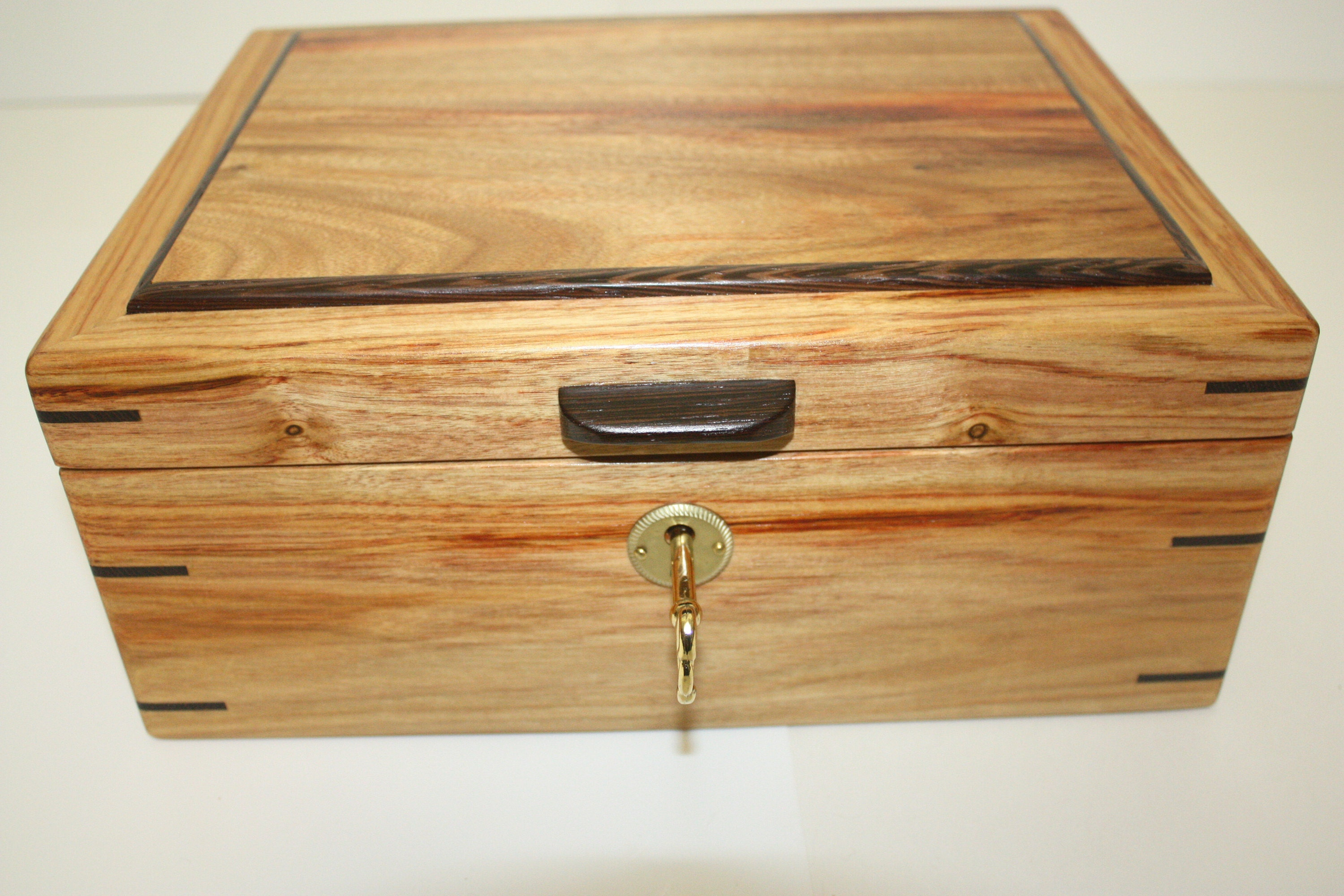 Handmade Locking Canarywood Box with Wenge trim