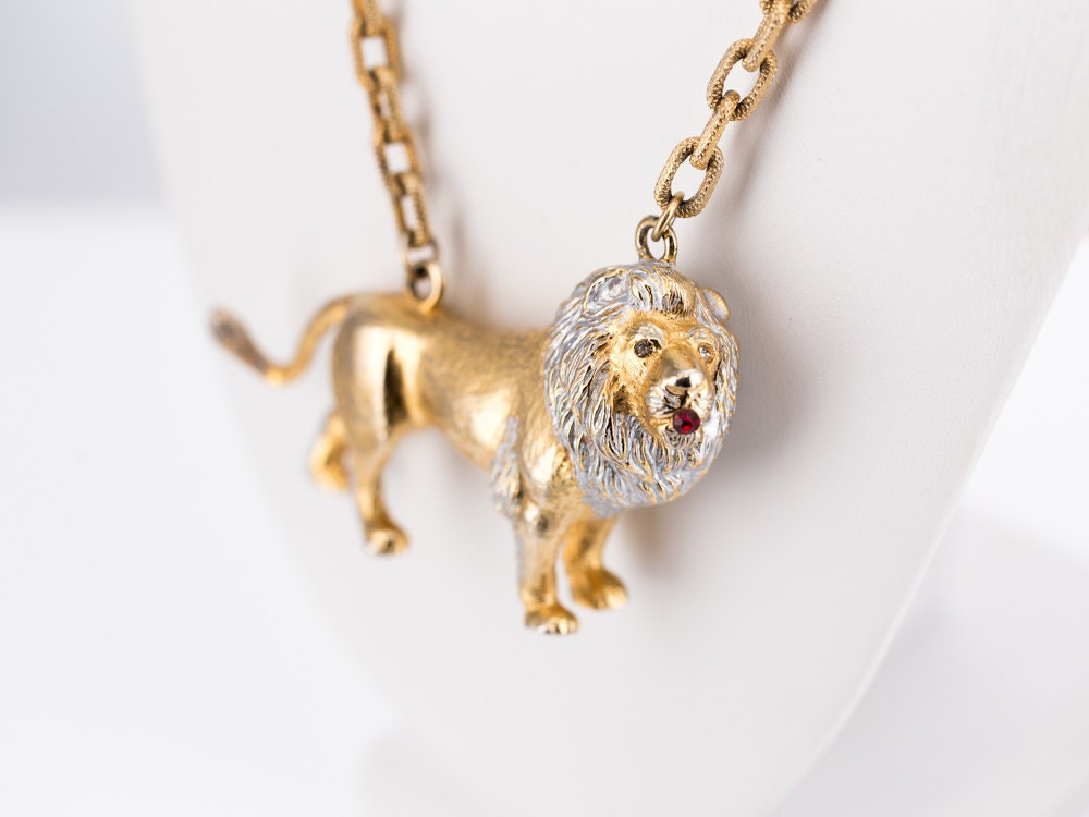 RARE Vintage Lucien Piccard Lion Runway Necklace