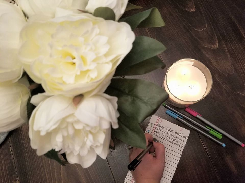 Peonies candle journaling