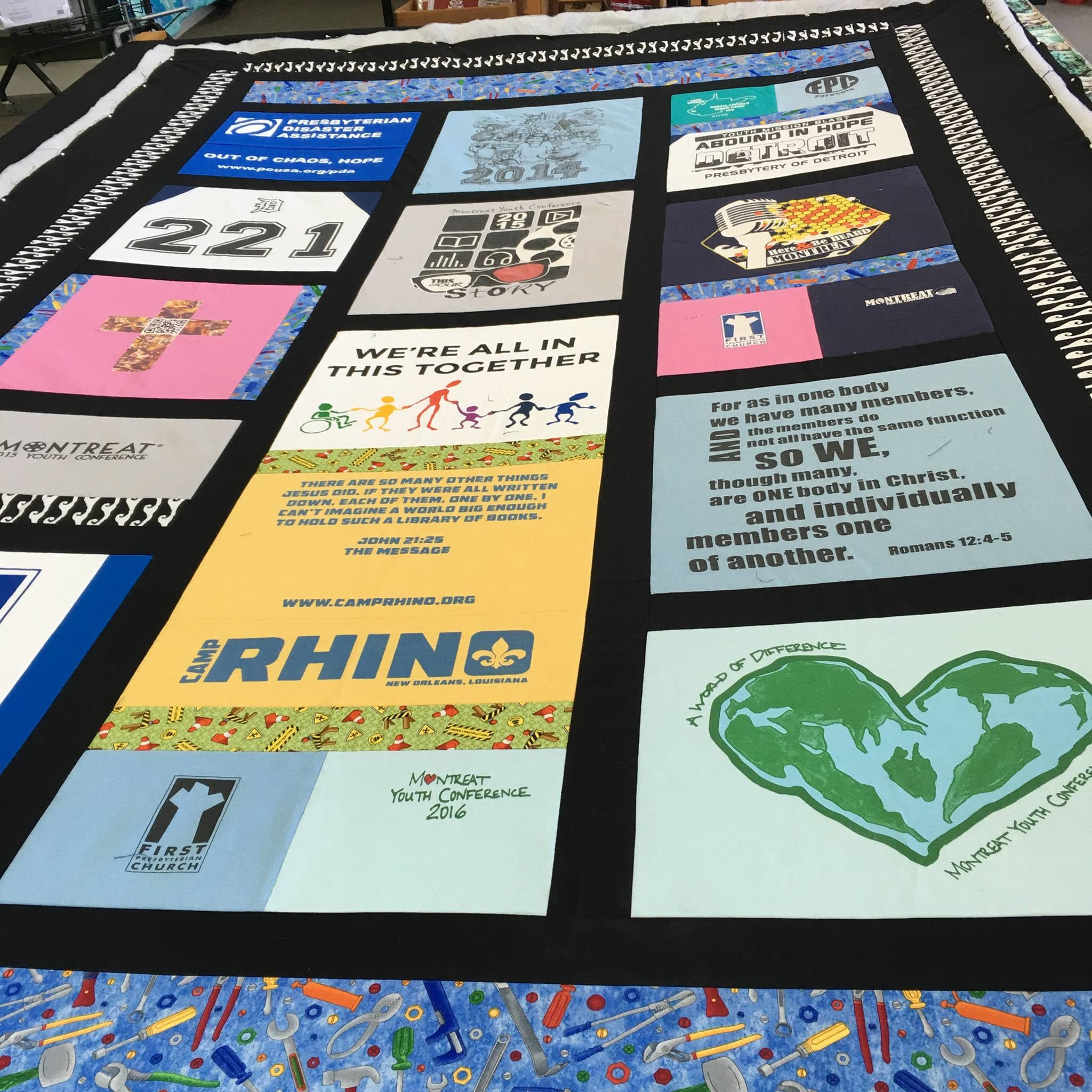 This memory Quilt was made with t-shirts from various church mission trips.