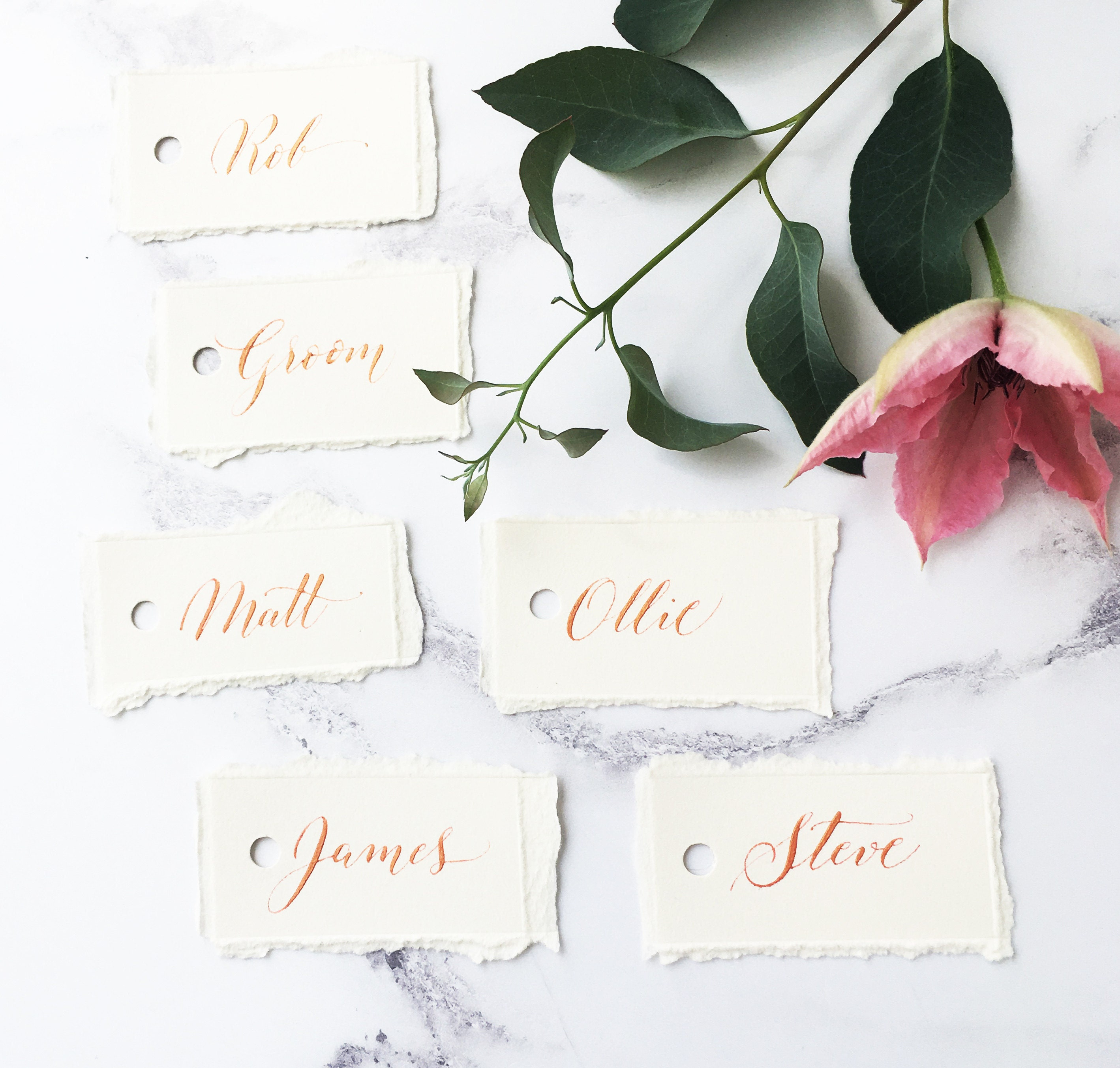 calligraphy place names, wedding name cards