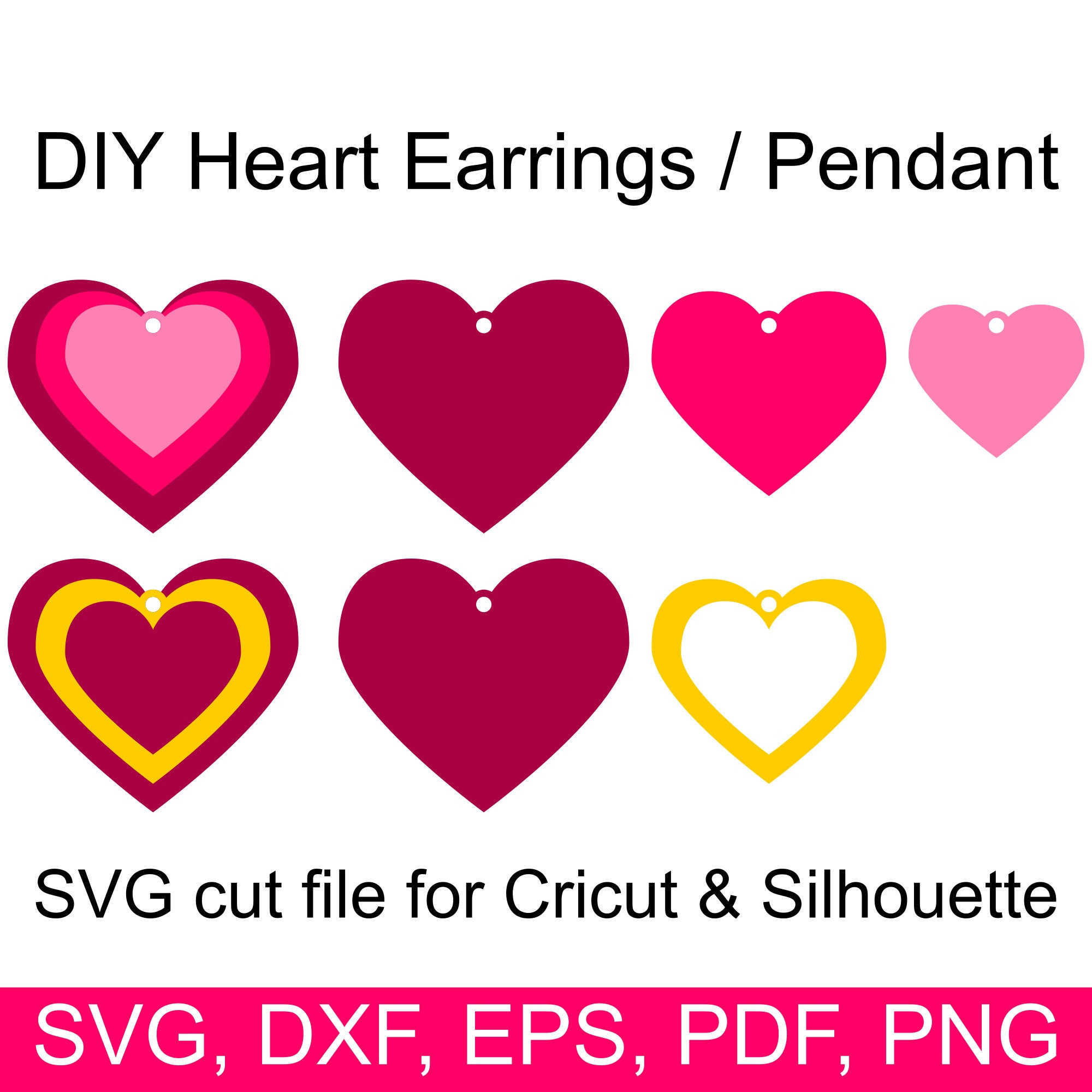 Stacked heart earrings SVG