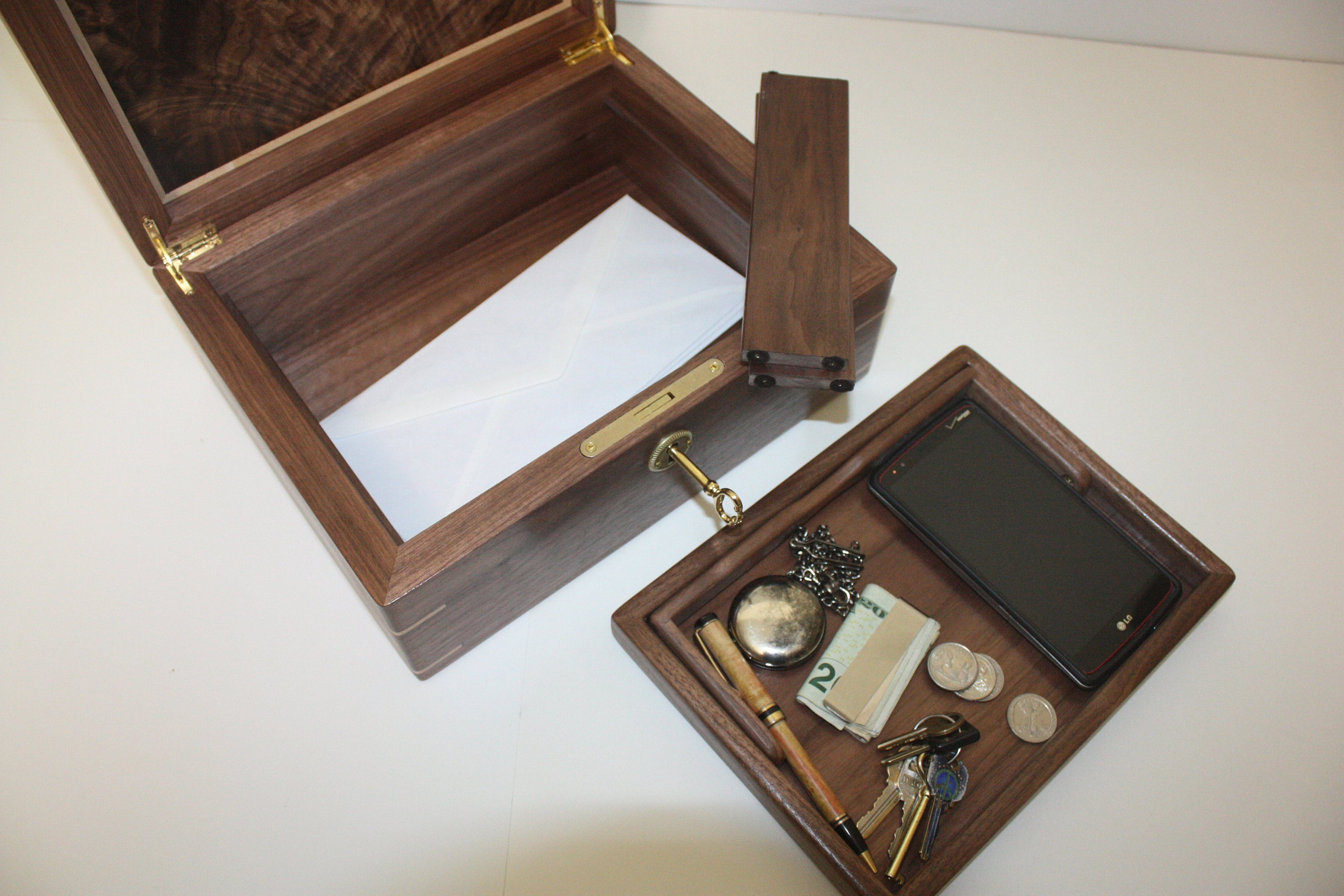 Large Wood Box with Lock and tray