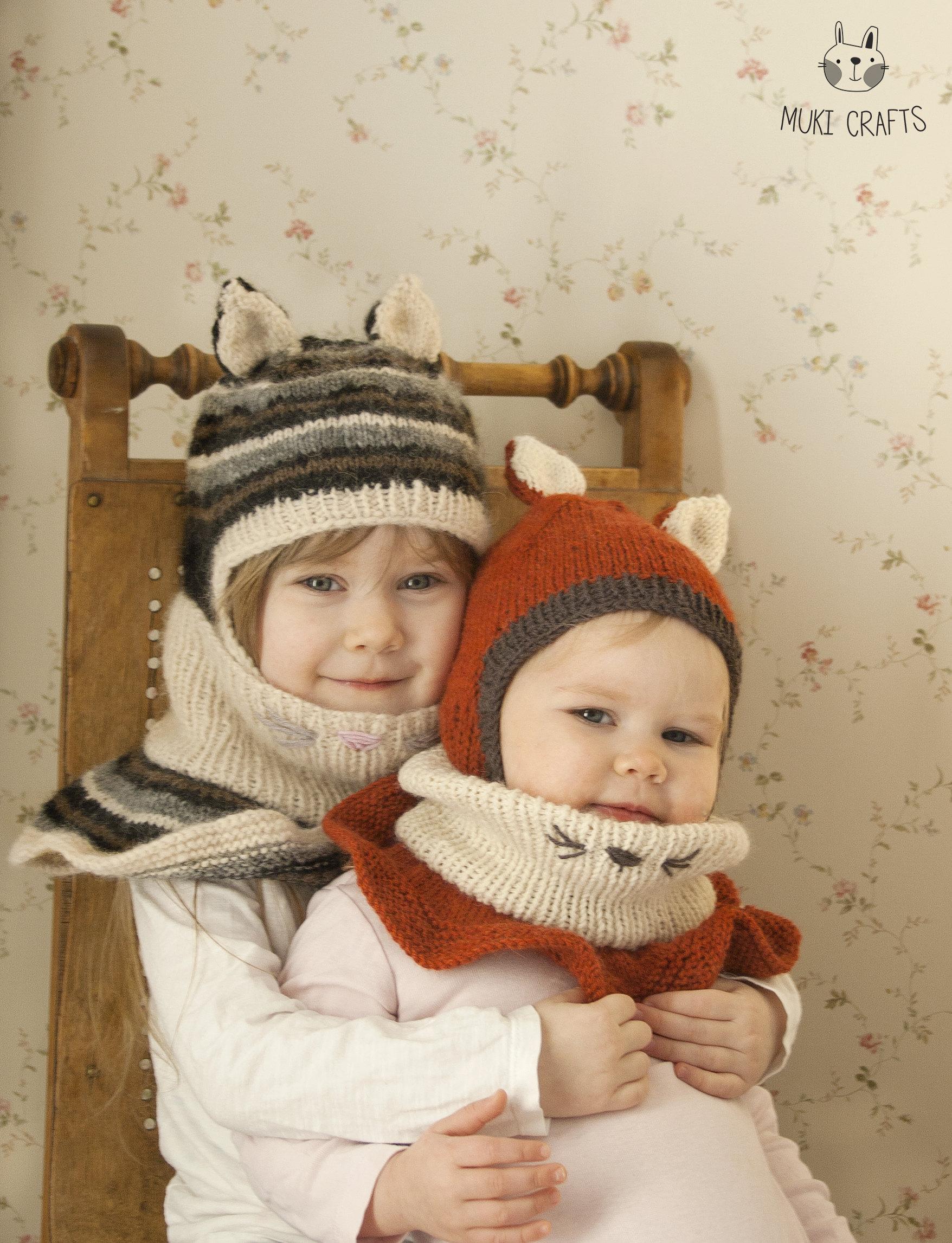 FREE knitting pattern fox or cat balaclava Evan