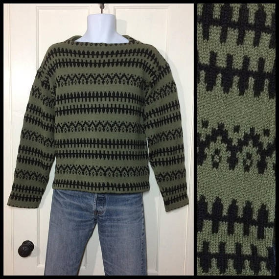 1960s thick Nordic wool pullover abstract patterned