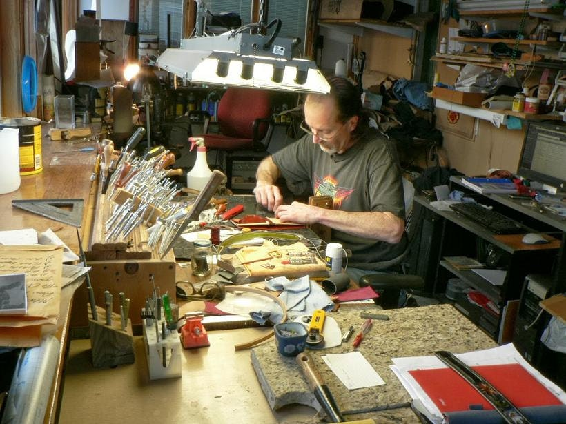 Larry in his studio at AcrossLeather