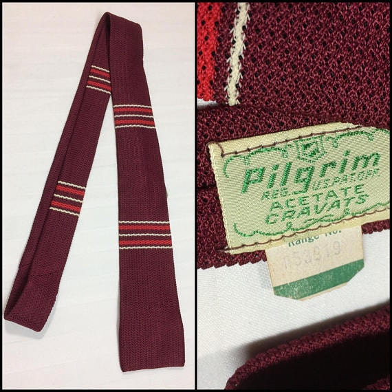 deadstock square end crocheted striped tie by Pilgrim NWT NOS