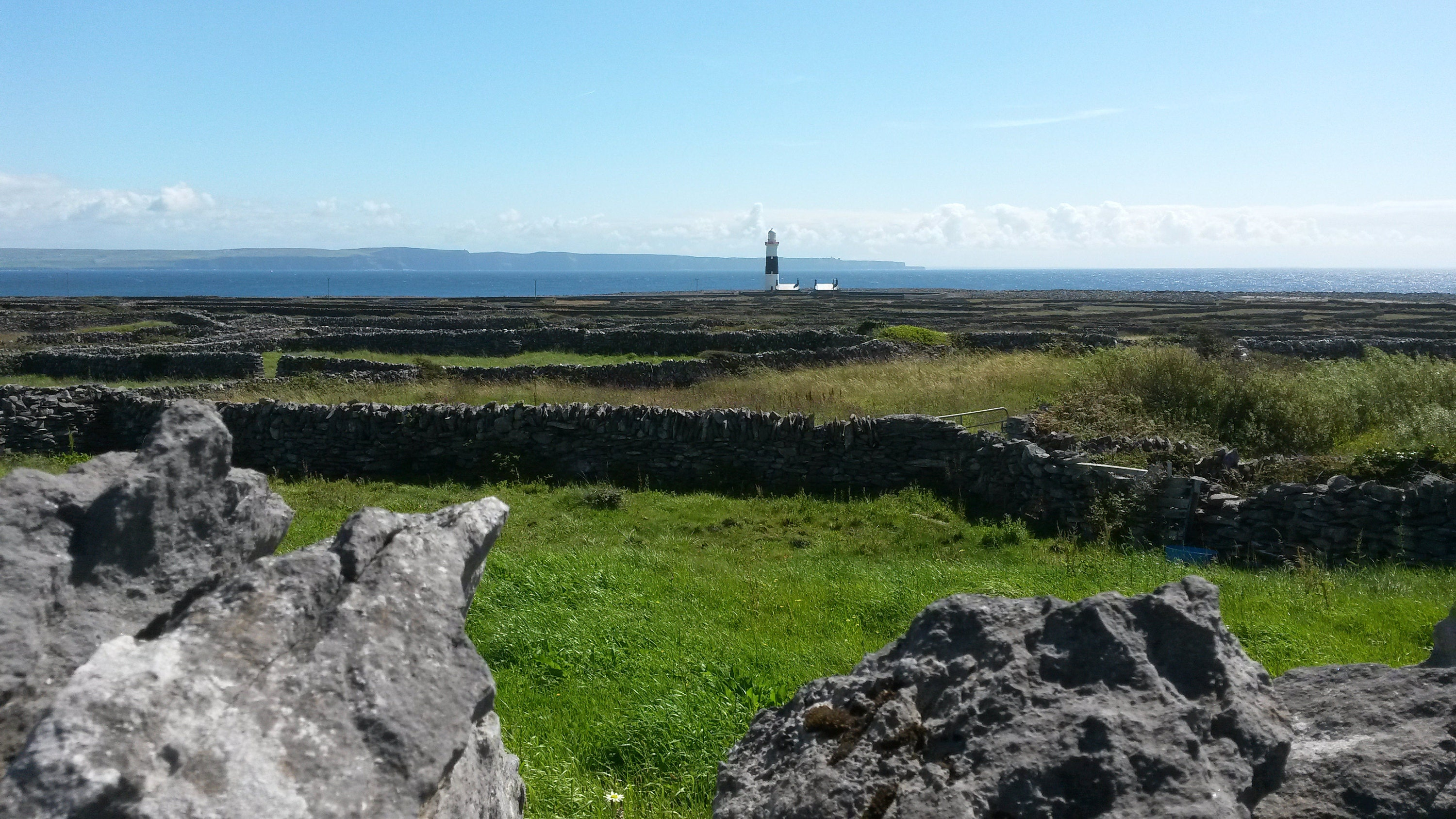 Lighthouse with Cliffs of Moher in the distance