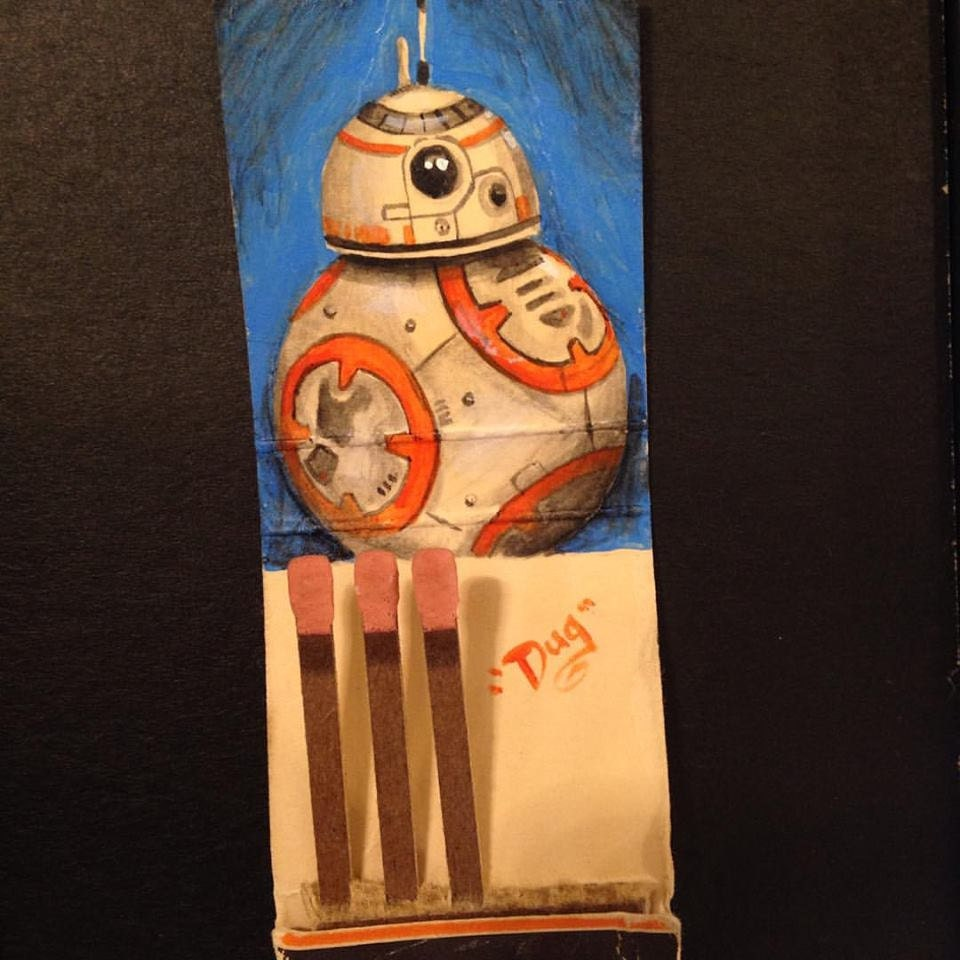 They see me rolling.  1.5x2 Acrylic on vintage matchbook