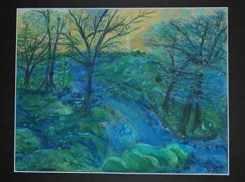 Blue on Blue original pastel painting