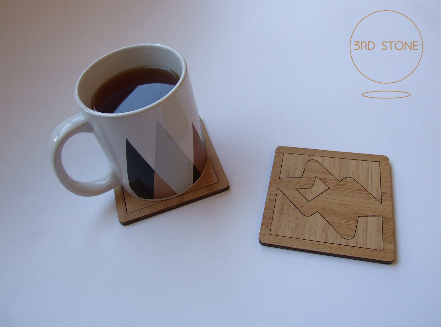 Laser cut promotional drinks coasters in bamboo.