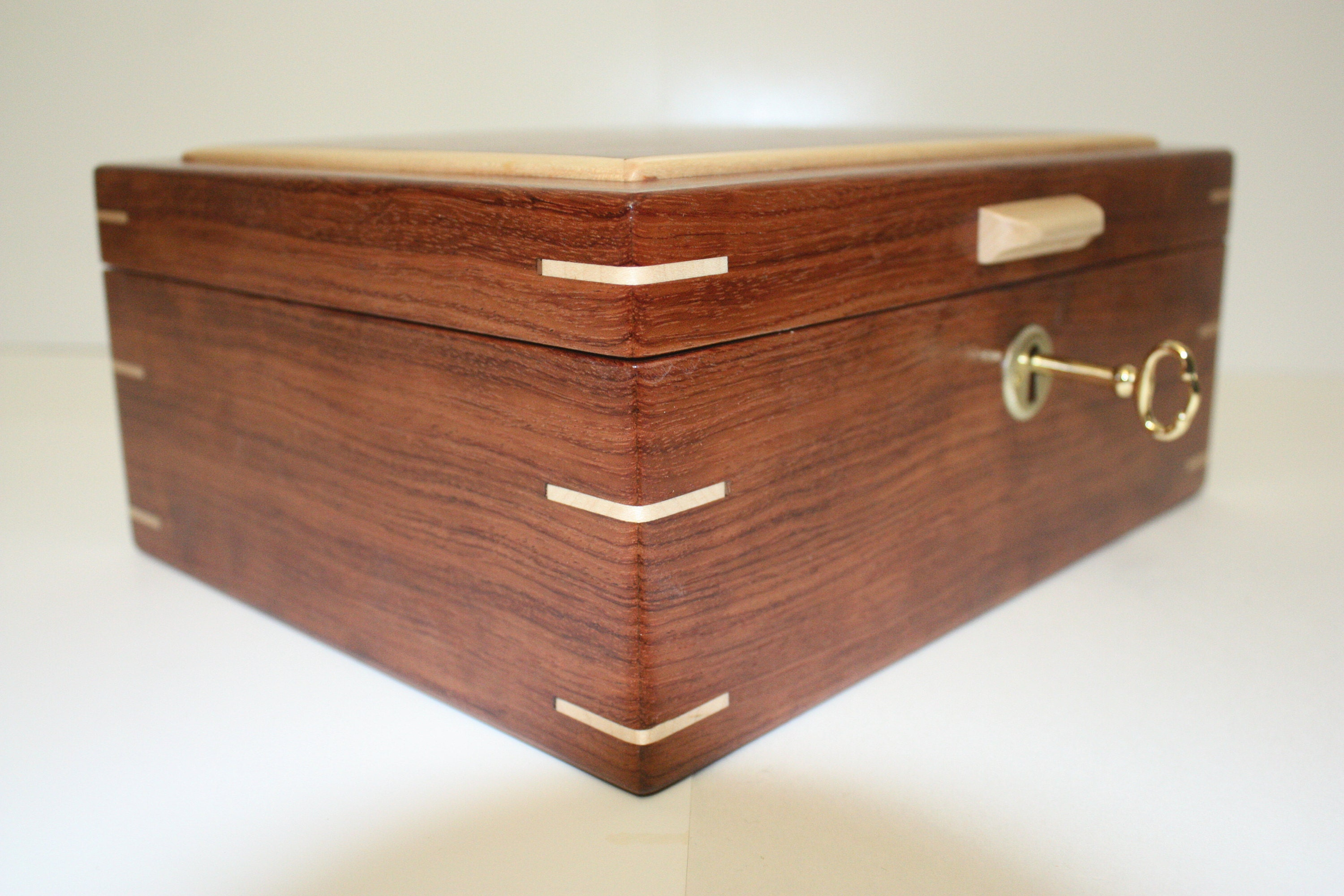 Large Bubinga Locking Wood Box For Sale