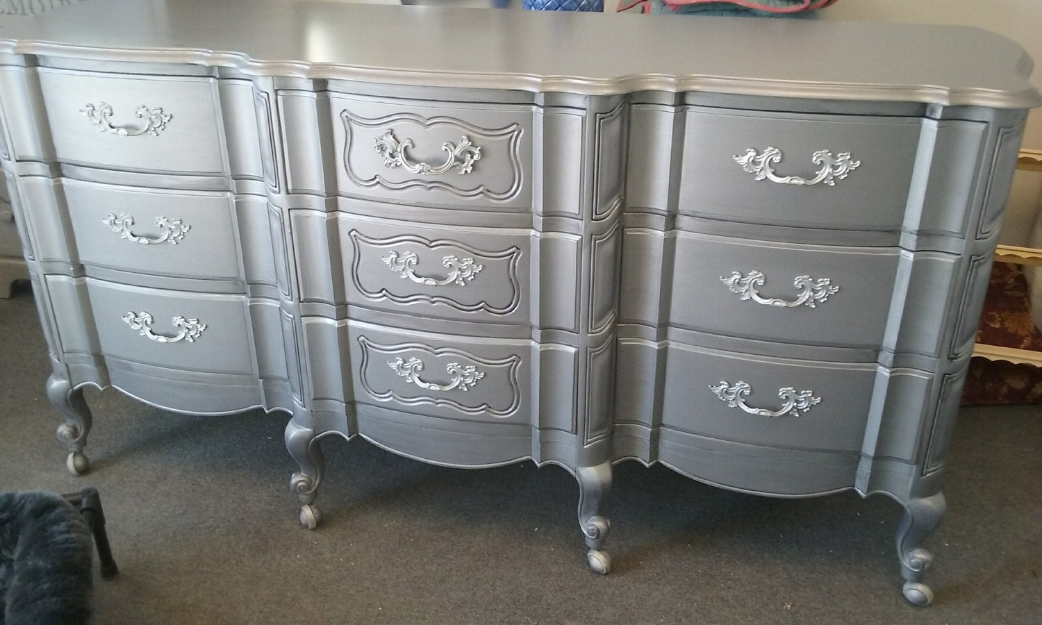 metallic painted french provincial aged pewter, vintage dresser