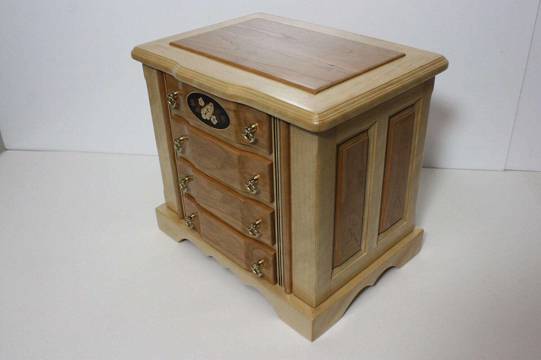 Handmade Birch with Cherry Wood Jewelry Box For Sale