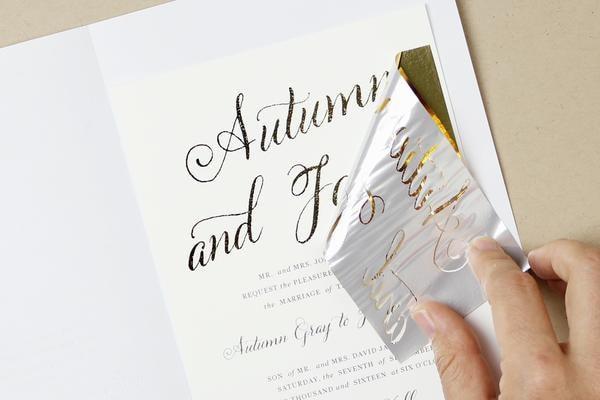How to diy foil wedding invitations diy gold foil printing solutioingenieria Choice Image