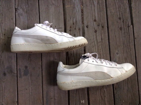 1980s leather Puma vintage Trainers white gray size 12
