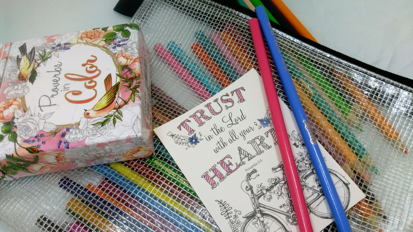 Adult coloring bag for a portable self-care kit