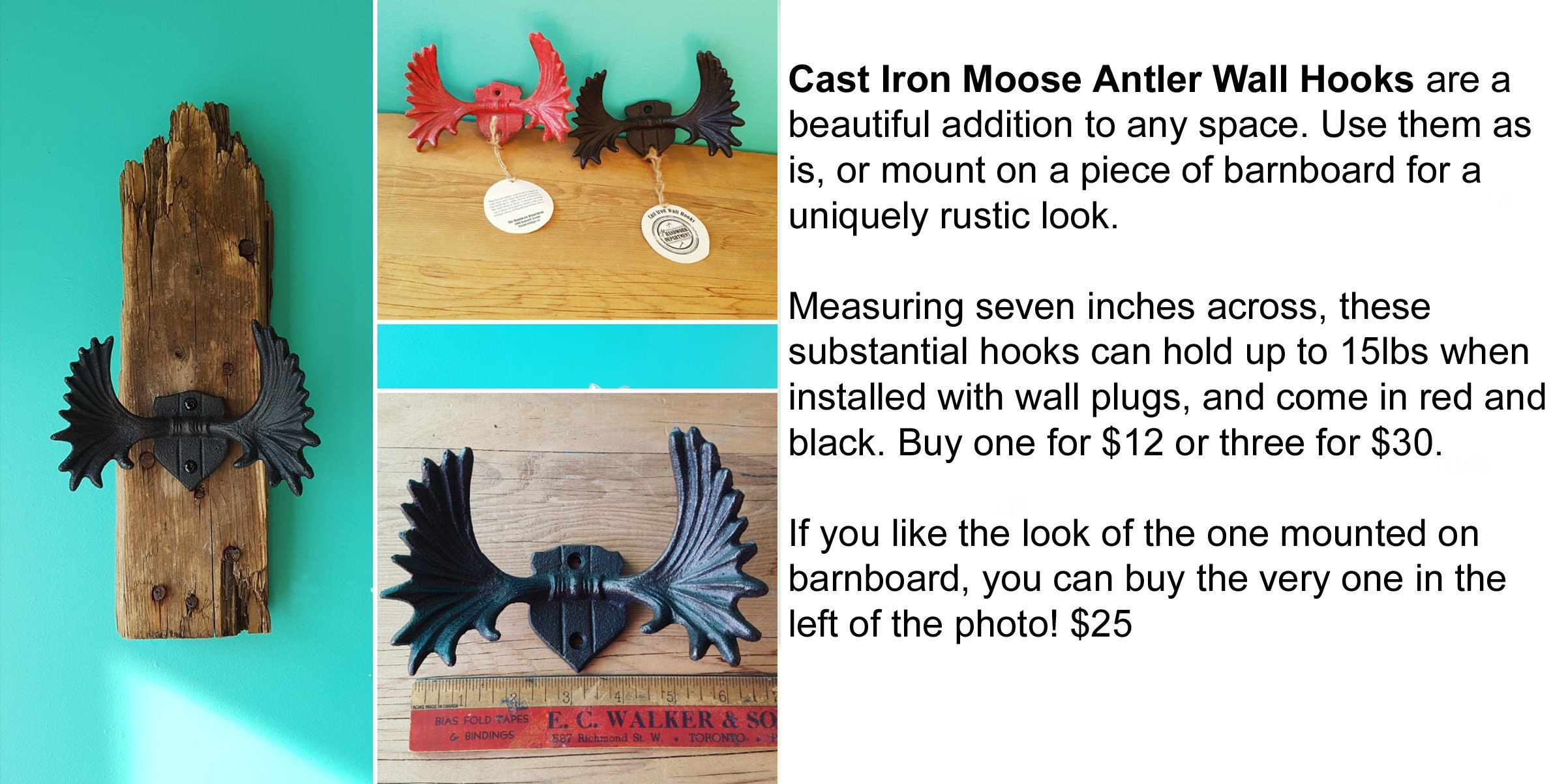 Cast Iron Wall Hooks $12