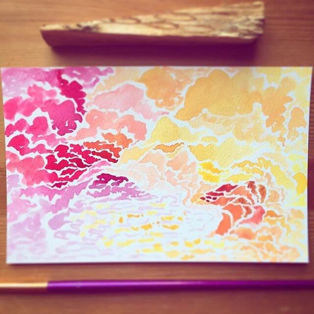 Fragments of Winter Sun - original watercolor by Sheilan Kazzaz