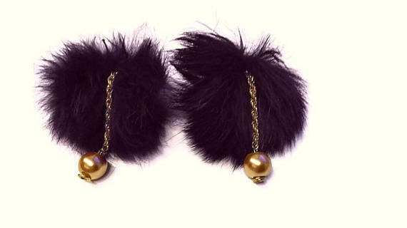 gunadesign fur pom pom earrings