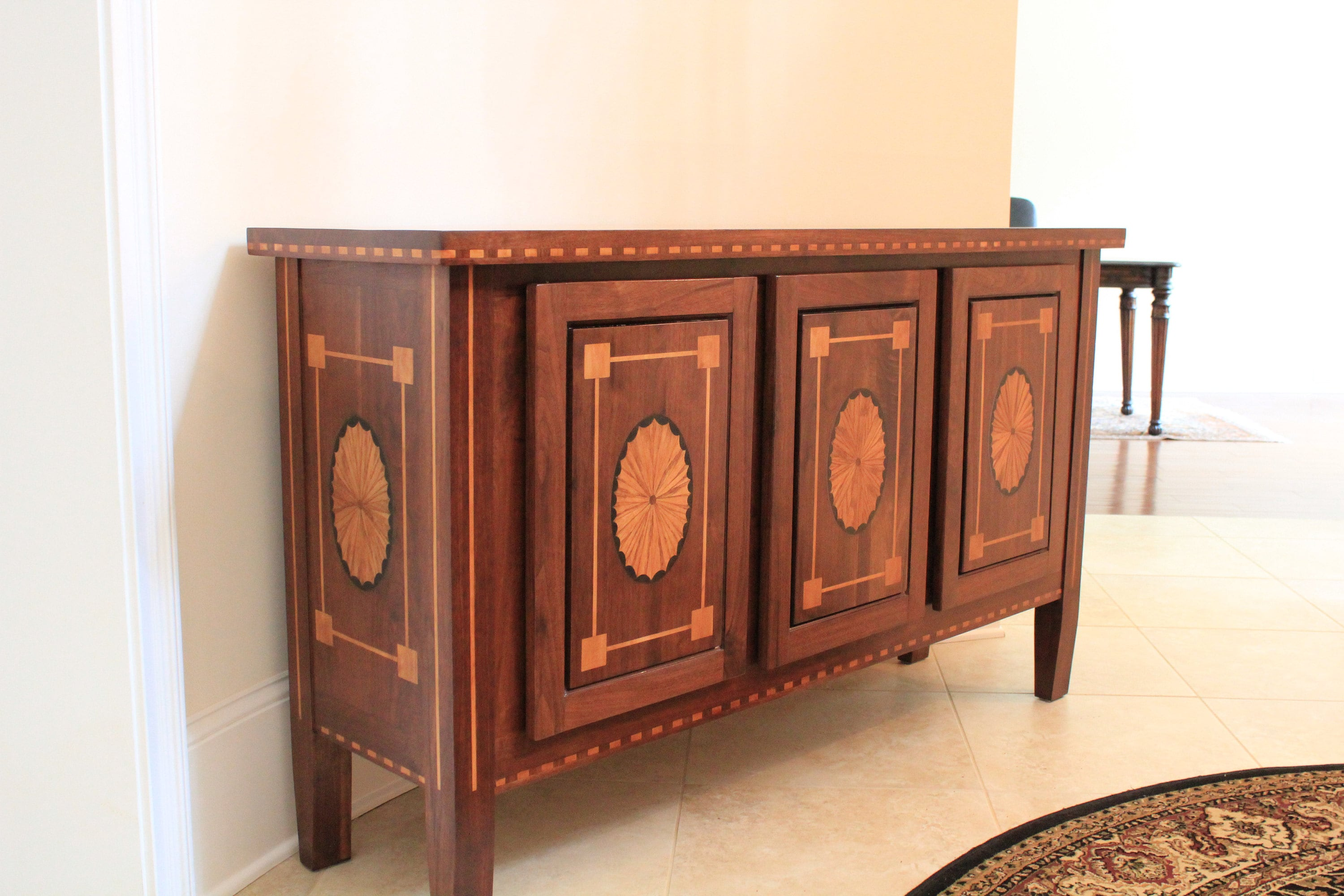 walnut console table with ezmarquetry inlays