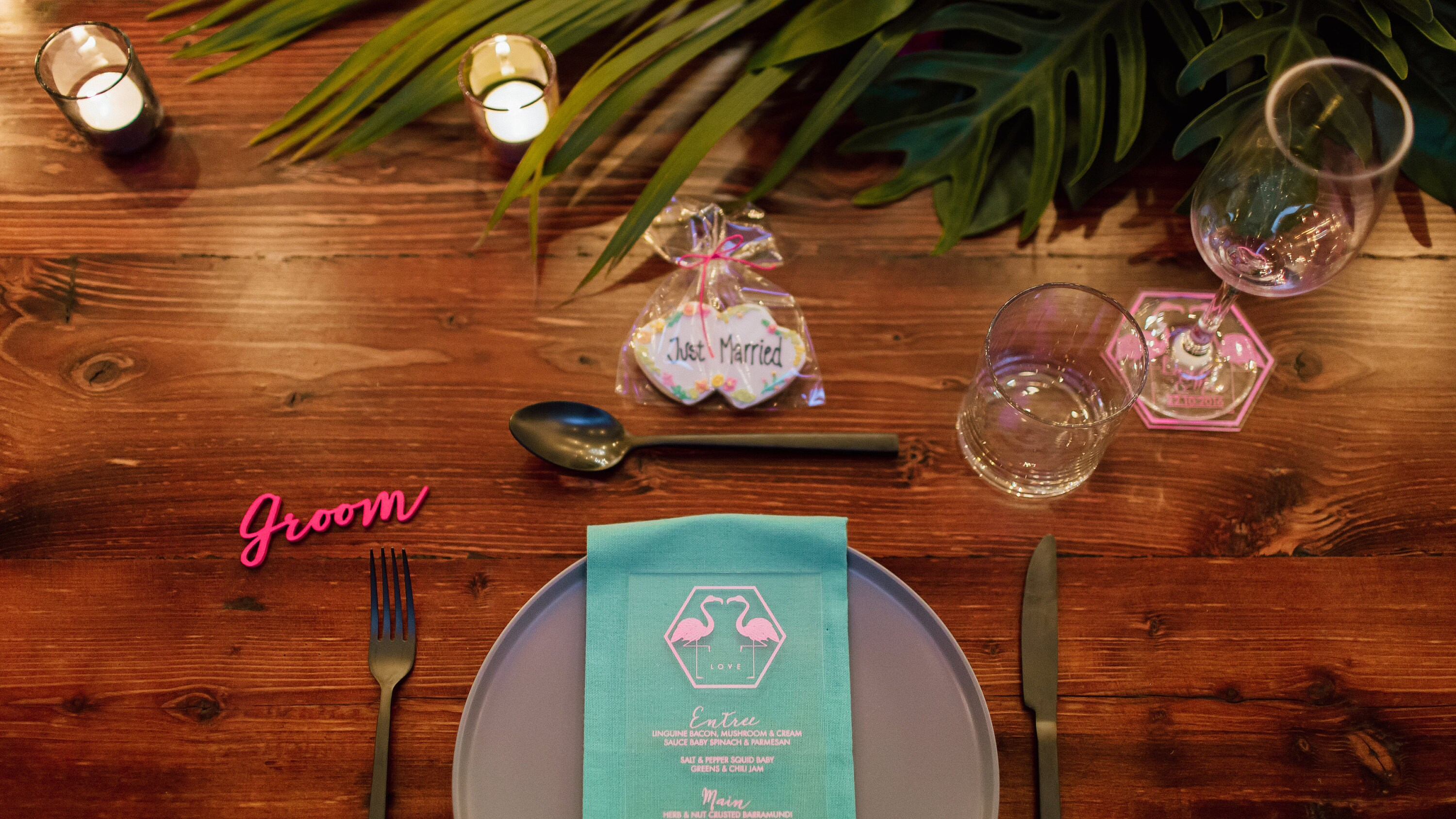 Fluro Pink laser cut placecards