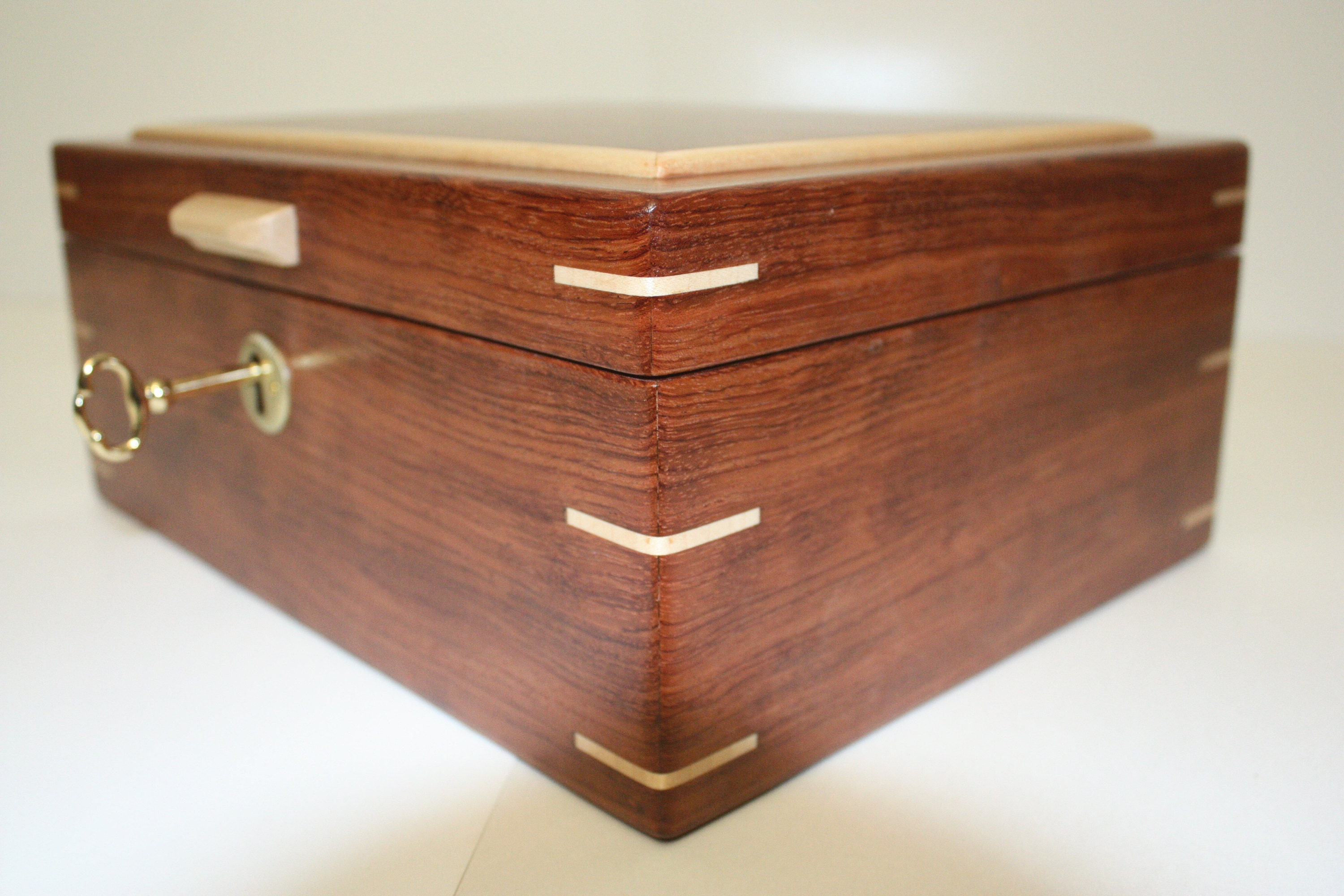 Large Handmade Locking Wood Box For Sale