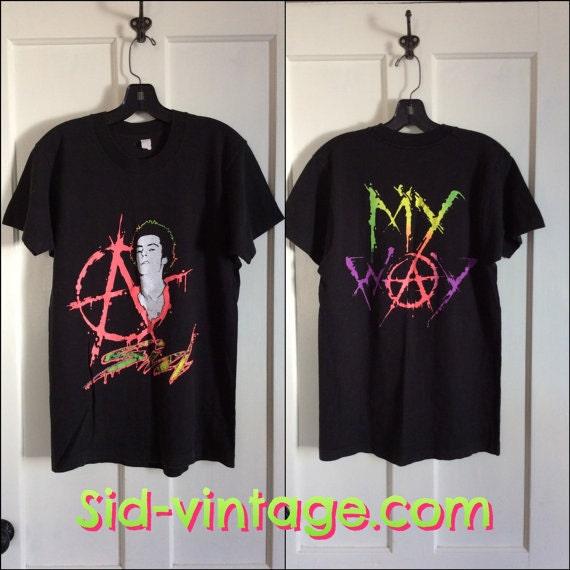 1980s Sid Vicious neon print t-shirt