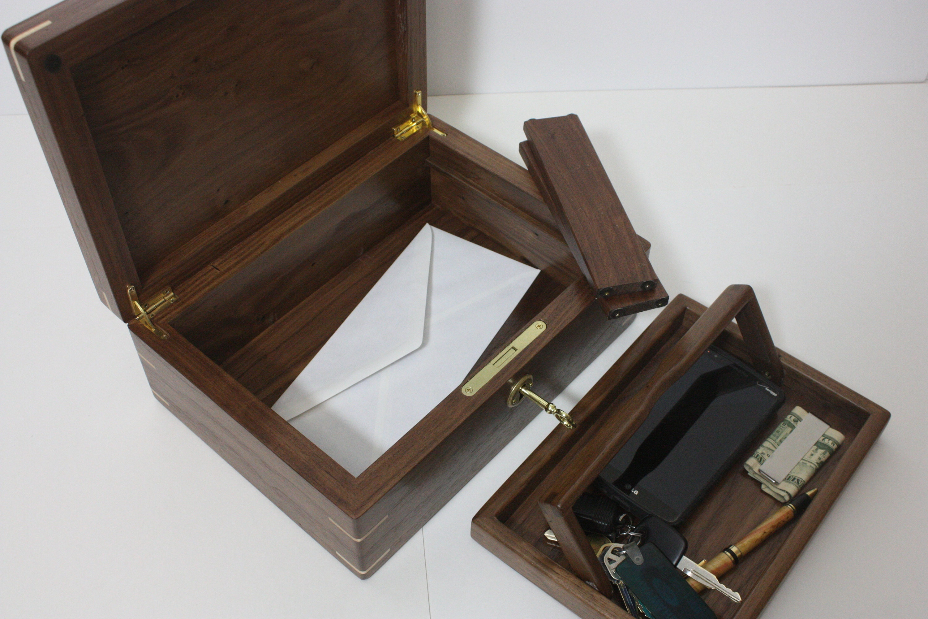 Locking Walnut Mens Valet Box