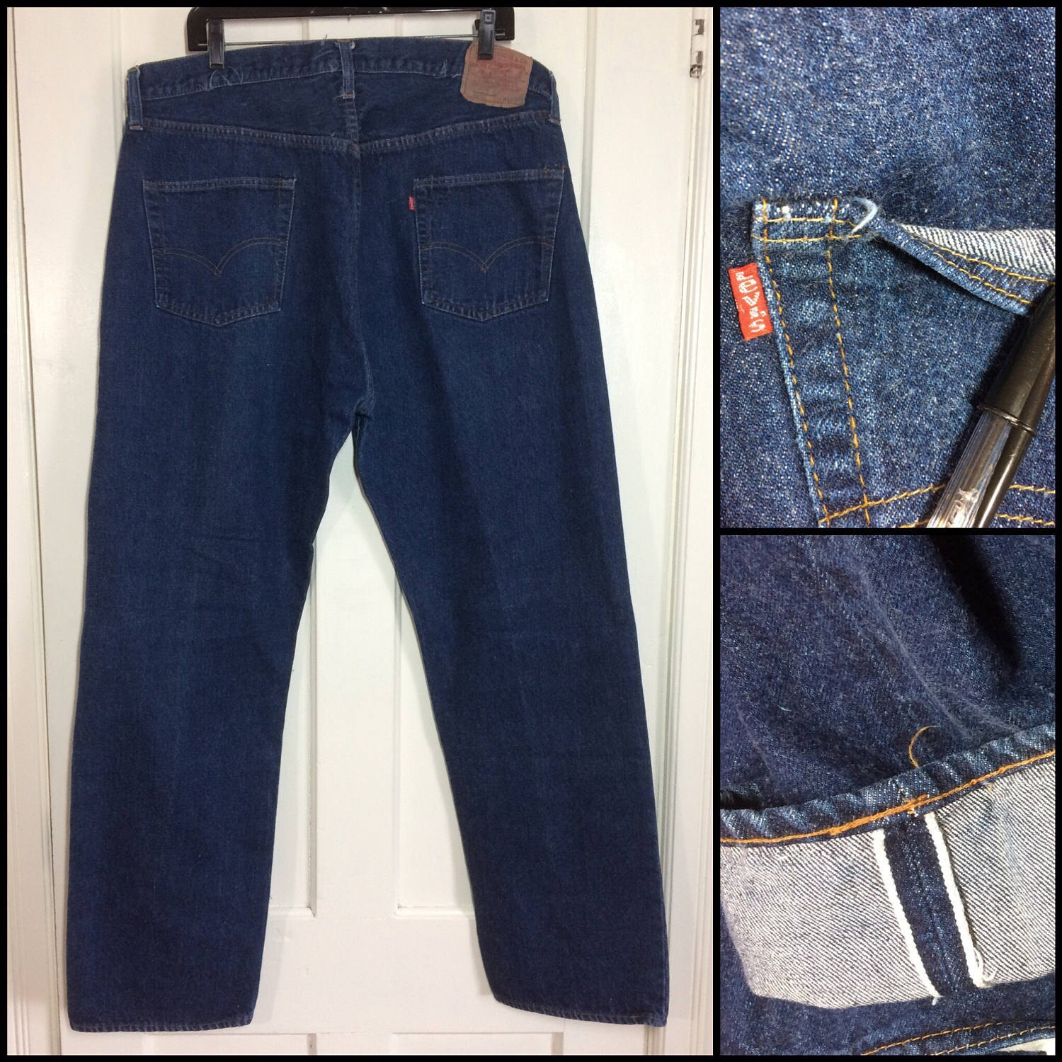 vintage indigo blue redline single stitch 501 jeans