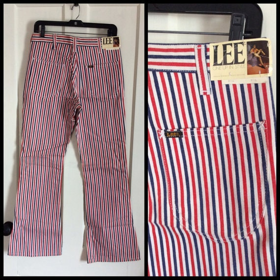 deadstock red white and blue striped Lee bellbottom jeans NOS NWT